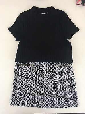 Girls M&S Kids age 10-11 skirt and top two piece set black and white