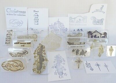 Lot of 15 Clarity Stamp Christmas Themed Stamps on Mounts - Santas Sleigh etc