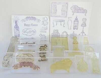Lot of 18 Clarity Stamp Rubber Stamps on Mounts - Mannequin, Sentiments etc