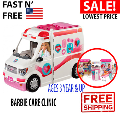 Barbie Care Clinic Ambulance 2-In-1 Activity Toy Fun Playset For Girls Ages 3Y+