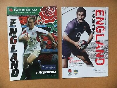 Two Rugby Programmes  - England v Argentina - Twickenham - 2006, 2009