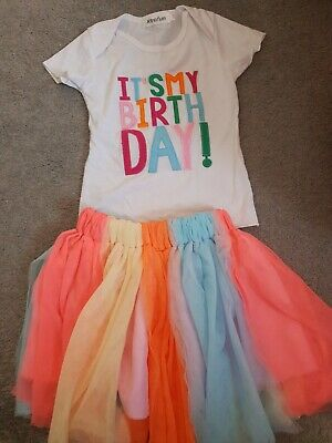 It's My Birthday Kid Girl Colorful Tutu Skirt Party Dress Outfit Set UK 4-5