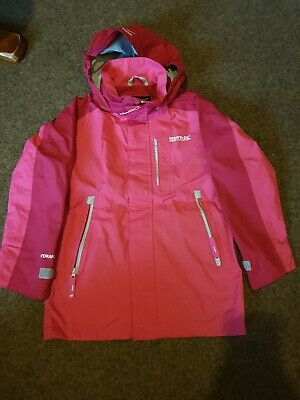 REGATTA pink Girls Waterproof Hooded Jacket Coat  Age 7/8 Raincoat Anorak