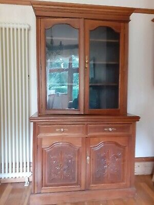 Victorian mahogany glazed bookcase, cupboard display cabinet .