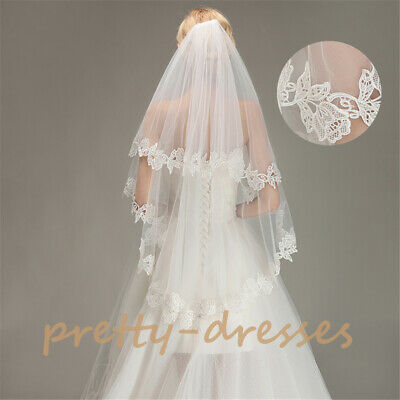 Fingertip Short White Ivory Bridal Wedding Veils Appliques Edge with Comb 2Tiers