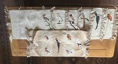 Thorkild 6 Tablemats & Table Runner With Birds Embroidered Wool Never Used
