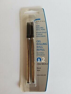 Cross 8523-2 GEL Selectip Rolling Ball Pen Refill BLACK Ink SEALED NEW~ 2 Pack