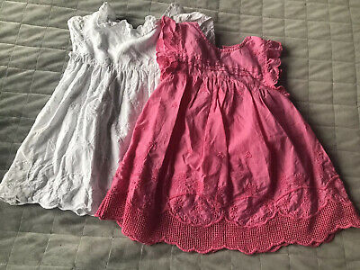 Next Girls Tops Shirt Tunic Blouse Set Bundle Pink White 2-3 Years