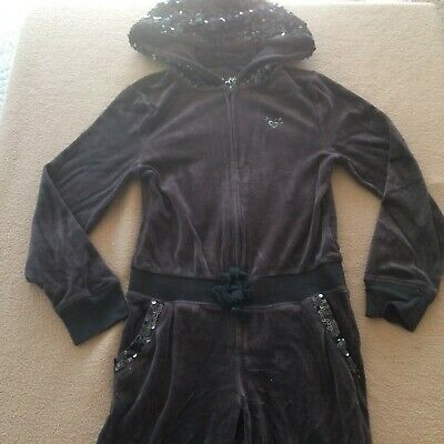 Girl's Justice velour one-piece hooded pants suit size 6 black soft long sleeves