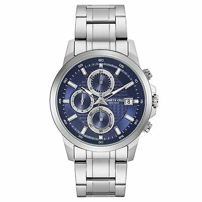 Kenneth Cole New York Mens Quartz Stainless Steel Silver & Blue Watch KC50733002