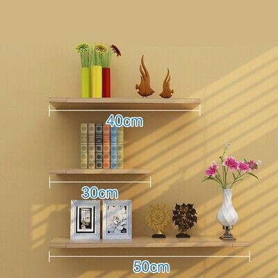 3 Floating Wooden Wall Mount Shelves Display Unit MDF Shelf Set Book Storage UK