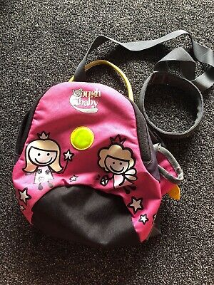 Pink Bush Baby Mini Rucksack With Rein. Toddler Rucksack
