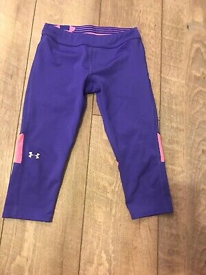Girls Youth 6/8 Under Armour Legging Capri Purple And Pink