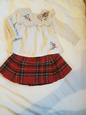 Girls next outfit - skirt and top.  Red, 9-12 and 12-18 months VGC