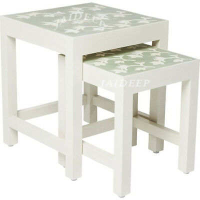 Handmade Bone Inlay Leaf Bedside Table Side Table Nightstand Green stool