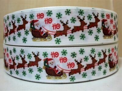 2 metres or full roll 15mm Christmas Satin Ribbon Reindeer Snowman Santa 15 mm
