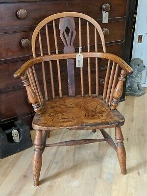 Antique LOW Windsor Chair -  Country Armchair - Oak Vintage - Wood - Fireside