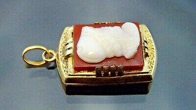 Beautiful 14K Solid Gold Victorian Fine Jewelry Picture Locket agate pendant