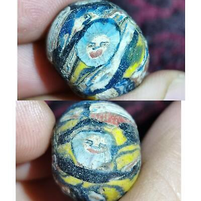 Roman Wonderful Old Mosaic Glass Rare Unique Bead With faces   # 63
