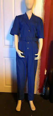 NEW WAVE 1980S VINTAGE BLUE EMO DISCO JUMPSUIT Uk Vintage 16