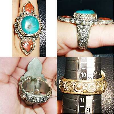 Wonderful Turquoise coral stone Old stunning Unique Ring  # 63