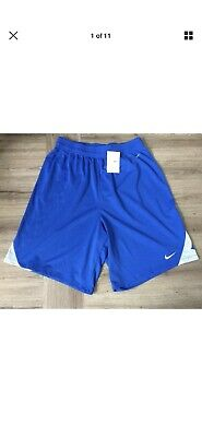 Vintage 1990s Nike Basketball Sports Shorts Blue Mens Large Long Dri-fit BNWT OG