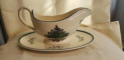 Vintage Spode Christmas Tree Pattern Gravy - Sauce Boat And Underplate Exc Cond