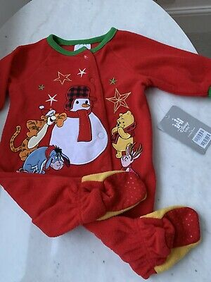 Disney Store Christmas Winnie The Pooh Red Fleece Babygrow Sleepsuit 0-3M NWT