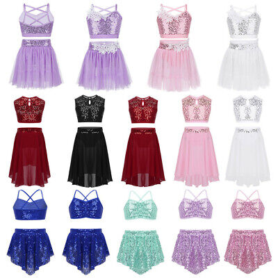 Girls 2-Piece Sequins Dance Dress for Ballet Ice Skating Lyrical Crop Top+Skirt