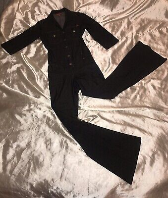 Vintage Stretchy Wide Legs Jumpsuit Playsuit One Piece Unitard Denim Jeans Retro