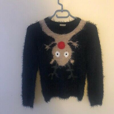 Kids NEXT Black Fluffy Christmas Rudolph Sweater - Size 10 Years