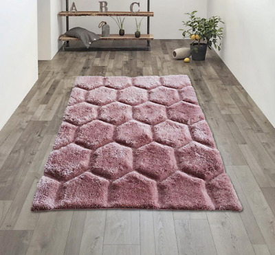 Large Soft Thick Area Rug Blush Pink Modern Shaggy Shag Pile Rugs Cheap Mats