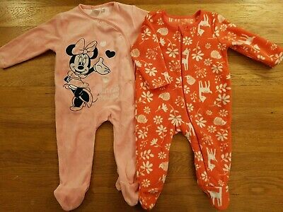 Baby Girls Fleece Velour 0-3 months Sleepsuits Disney Minnie Woodland winter