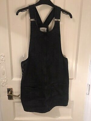 Black Pinafore Denim Dungaree Dress Size 8