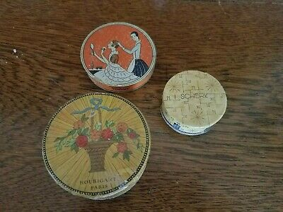 Lot of 3 antique face powder boxes compacts with powder, 1920's and 30's