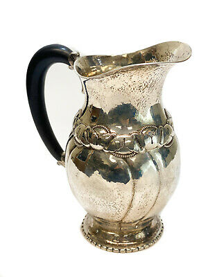 Evald Nielsen Danish Sterling Silver Hand Wrought Wooden Handled Pitcher, 1921