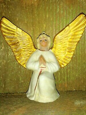 Antique Wax over Paper Mache German  Christmas Tree Angel  Ornament 3""