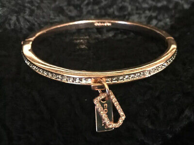 COACH ROSE GOLD Clear PAVE Hinged Bracelet With 2 Coach Tag