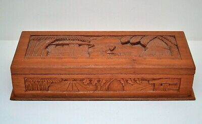 Vintage Asian Oriental Wooden Hand Carved Jewelry Box Chest