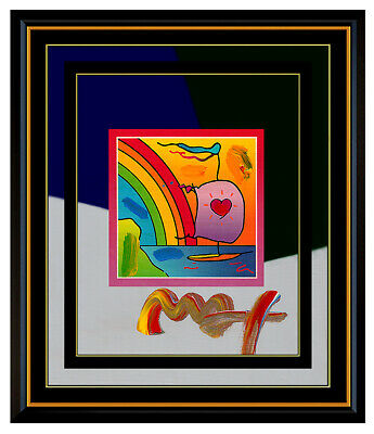 PETER MAX Original Signed PAINTING SAILBOAT with HEART Pop ART Acrylic Oil Love