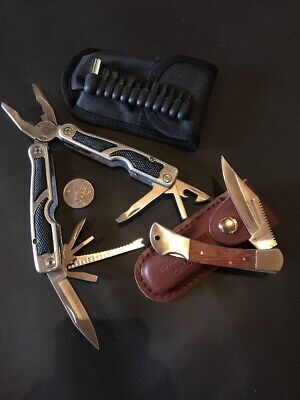 Multi Tool With Folding Pocket Knife And Leather Pouch - Bulk Factory 2nds Sale
