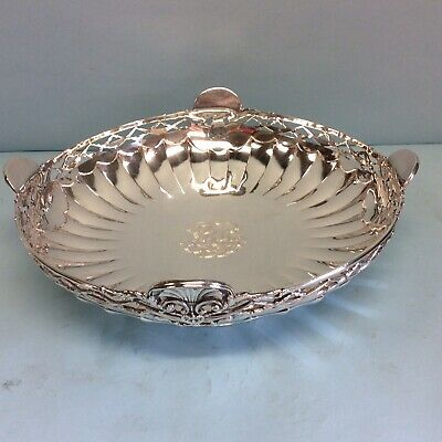 """Sterling Silver Crichton Bros. Fluted Centerpiece Bowl London 1920 10.25"""""""