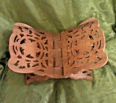 Vintage Hand Carved Wooden Book Bible Folding Holder Stand 12""