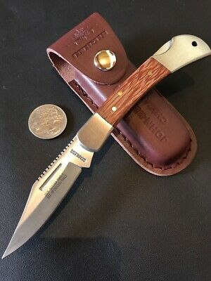 Folding Lock Back Pocket Knife With Leather Pouch - Factory 2nds