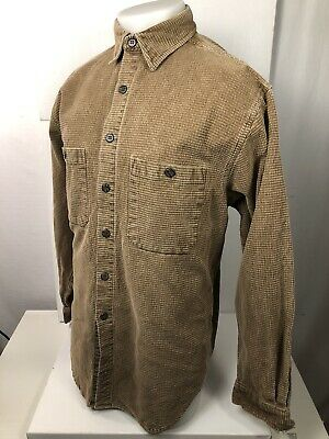 THE TERRITORY AHEAD Vintage Heavy Duty Mens Lg. Brown Textured Camping Shirt