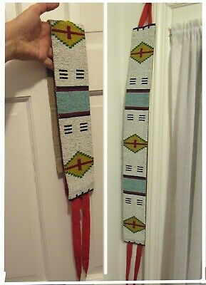 Huge Antique Native American Beaded Sash stunning 4 x 33 ( ? Canadian Plains ? )