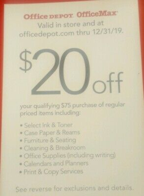 Office Depot Office Max $20 Off Of $75