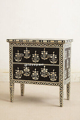 Handmade Bone Inlay Floral Leaf Design Black Cabinet Dresser 2 Drawer