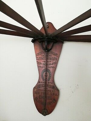 ANTIQUE PRIMITIVE WOOD WALL HANGING DRYING RACK Graphics missing 4 SPINDLE ARMS