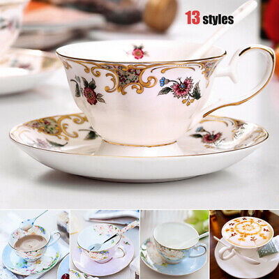 Luxurious Bone China Coffee Cup and Saucer Set European Household Flower Tea Cup